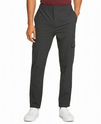 DKNY Mens Pants Charcoal Gray Size Large L Elastic Cargo Button-Front $89 382