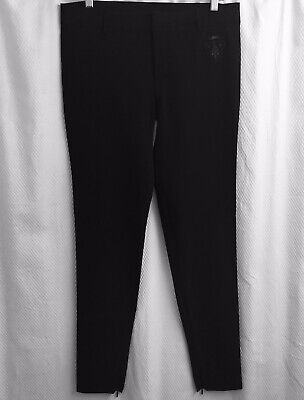 Authentic GUCCI Equestrian Hysteria Crest Black Riding Pants w/ Logo Ankle Zip