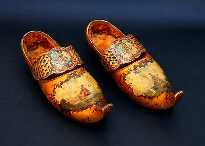 Antique French Painted Wood Clogs Breton Sabot Artist Signed Shoes Museum Piece