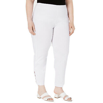 JM Collection Women's Plus Size Ankle-Laced Pull-On Pants Bright White Size 24W