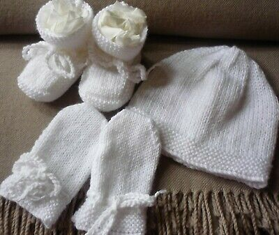 Beanie, Booties & Mittens Set, Boy Or Girl Baby, Hand-Knitted By Me. Extra Soft!