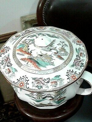 Antique Chinese Hand Painted Porcelain Chamber Pot & Cover C.1880