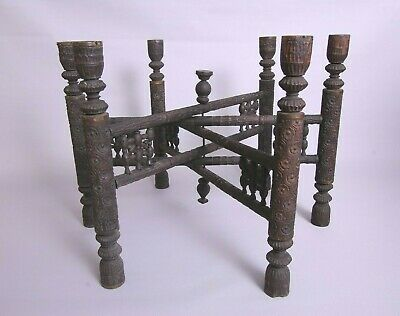 ORNATE ANTIQUE 19th century, large Anglo-Indian folding wooden table base stand