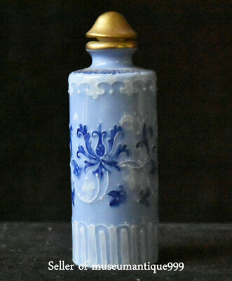 7.5CM Qianlong Marked China Old Color Porcelain Flower Snuff Bottle Snuff Box