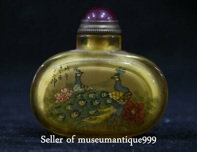 5.5CM Old Chinese peacock peafowl Bird Inside Hand Painted Glass Snuff Bottle