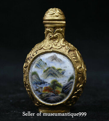 7CM Rare Marked Old China scenery Painted Peking Bronze Dynasty Snuff Bottle