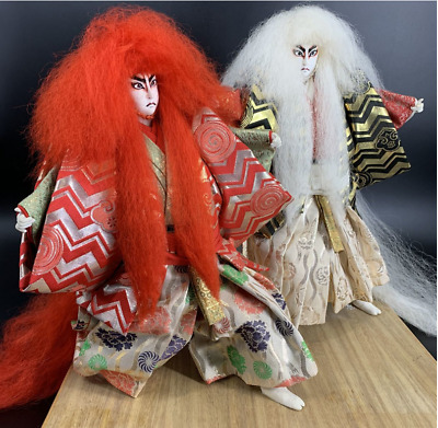 Japanese 2 lot of Traditional Antique Vintage Kabuki doll warrior Samurai Figure