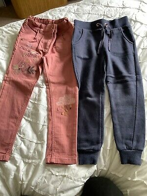 Girls Bundle Aged 4-5 Navy Jog Bottoms And Pink Jeans With Elisticated Waist