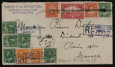 Traveled - 1927 - Registered 19c. Cover - Montreal, Canada to Paris France
