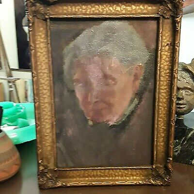 Head of a Old Lady Portrait Antique Oil Painting 19th Century Amazing Frame