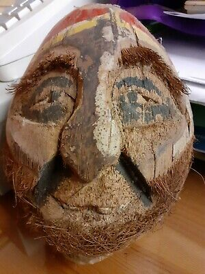 Vintage Hand Carved Coconut Head Folk Art early 20th century