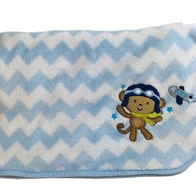 Carters Child of Mine Monkey Airplane Plane Baby Blanket Boy Chevron Blue White