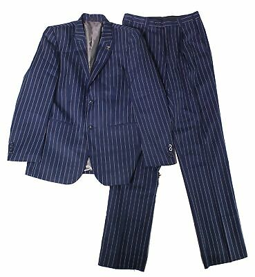 Stacy Adams Mens Suit Blue Size 38 2 Piece Pinstriped Two Button $225 828