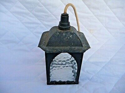 Vintage 30s Painted Metal Porch Lantern/Light Shade Obscure Chapel Shape Glass
