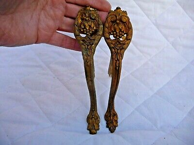 Antique Pair French Gilt brass Curtain Pole Holders With Original Wall Spikes