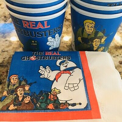 """Set of 2 NOS Sealed Vintage 1986 The Real Ghostbusters Party Napkins 10/"""" 13/"""""""