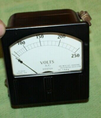 Weston Electric Instrument Corp. 0-250 Vac Ampere Amp Meter Model 744 Steampunk