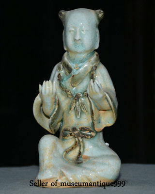 "6"" Rare Old Chinese Glaze Porcelain Dynasty Seat Tongzi Boy Blessing Sculpture"