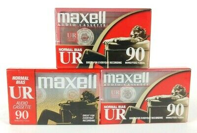 New Lot (3) Maxell UR90 Normal Bias IEC Type I 90 Minute Audio Cassette Tapes
