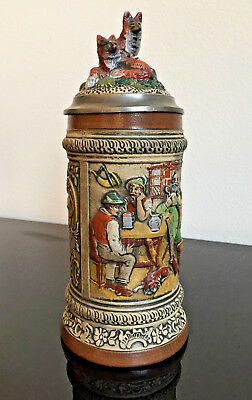 RARE Vintage West Gernamy GERZ Beer Stein - Cupidon and Fox, Collectible