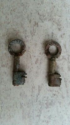 2 X Old Vintage Chubb Keys - Reclaimed From Sea