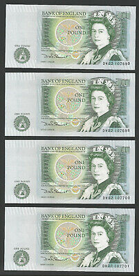 4 consecutive B341 SOMERSET 1981 ONE POUND £1 BANKNOTE DW02 107698 - 107701 UNC