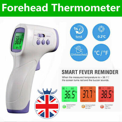 IR Infrared Digital Forehead Fever Thermometer Non-Contact Baby Adult Body UK IR