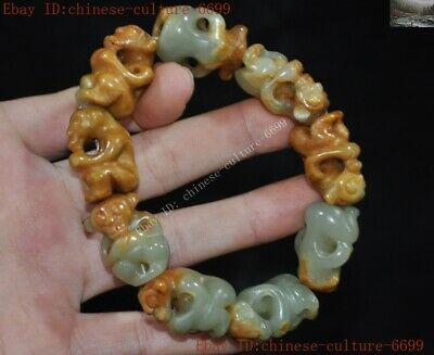 Chinese Natural Hetian Jade Hand-Carved Monkey Bracelets Bracelet Bangle