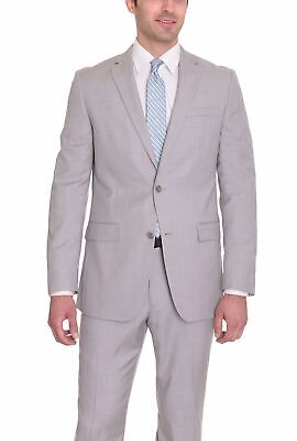 Mens 38L Bar III Slim Fit Light Gray Neat Textured Two Button Wool Suit