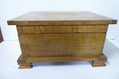 Vintage Wooden Arts & Crafts Writing Box Jewellery Deed Vanity Case Chest