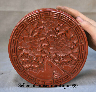 "6.8"" Qing Qianlong Marked China Red Lacquerware Dynasty jewelry Box cabinet"