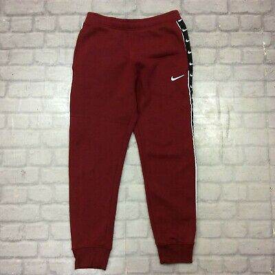 Nike Mens Uk S Tape Track Pants Red Fleece Pants Joggers Sportswear Rrp £55 J