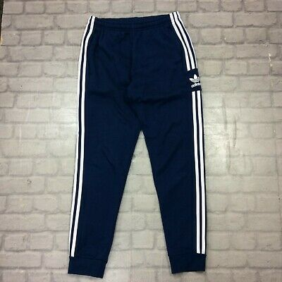 Adidas Originals Mens Uk M Blue 3-Stripe Trefoil Fleece Joggers Track Pants T