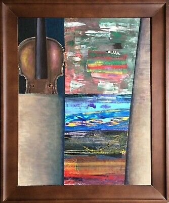Old antique violin original painting in abstract style signed