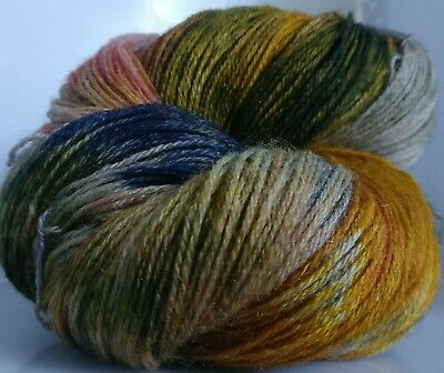 110g OF 3-PLY HAND-DYED 100% PURE NEW KNITTING WOOL * 1 SKEIN