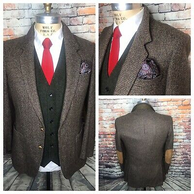 Brown Tweed Herringbone Elbow Patch Pocket Sport Coat Jacket Mens Size 40 Short
