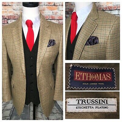 Trussini E Thomas Linen Silk Wool Beige Check Two Button Sport Coat Jacket 42 R