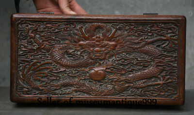 30CM Old Chinese Huanghuali Wood Dynasty Carving Dragon jewelry Box Casket