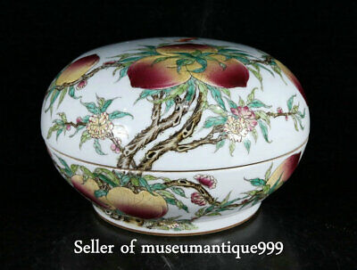 """10"""" Qing Qianlong Marked China famille rose porcelain Dynasty Peach Storage Box"""