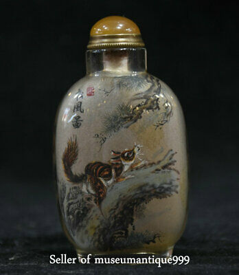 "3.6"" Old Chinese squirrel Tree Inside Hand Painted Glass Snuff Bottle&Box"