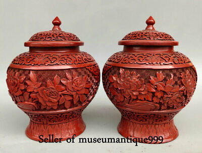 "7.6"" Qianlong Marked Old Red Lacquerware Dynasty Flower Pot General tank Pair"