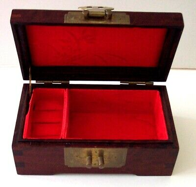 Asian Chinese Oriental Wood Jewelry Box w Brass