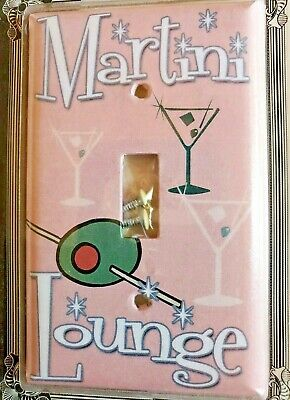Single Switch Plate Cover Martini Lounge Tiki Bar Pink retro colors by Art Plate
