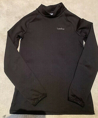 Decathlon Wed'ze Girls Black Thermal Base Layer Top Age 10 Yrs