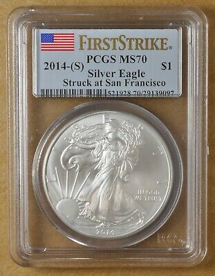 2014 (S) American Eagle Silver Dollar 'First Strike' PCGS MS70