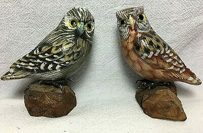 """Vintage Pair of Hand Carved & Painted OWL Figurines, 3"""" Tall"""