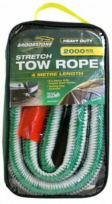 Brookstone Stretch Car Tow Rope Heavy Duty 2000KG 4 Metre Length with Tow Flag