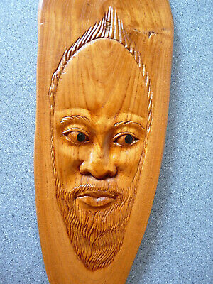 """Wood Carved Ethnic Bearded Man Wall Plaque 18"""" - Smooth Finish *Rare*"""