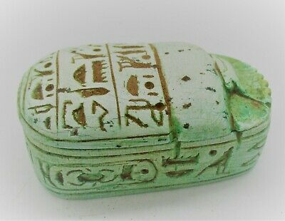 Circa 644 -332Bce Ancient Egyptian Glazed Faience Scarab Coffin With Heiroglyphs