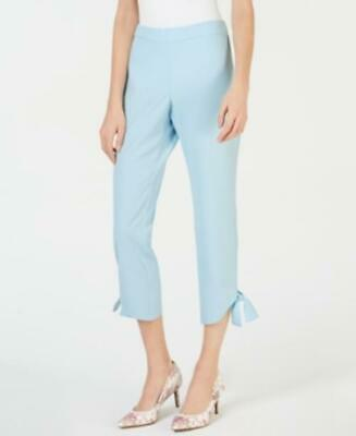 MSRP $60 Alfani Tie-Cuff Cropped Pull-On Pants, Blue Size 12